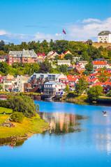 Türaufkleber Nordeuropa Panoramic view of beautiful city Trondheim, Norway