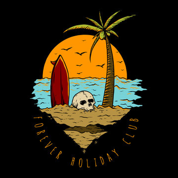 skull and surfing board holiday in the beach with sunset and coconut tree background