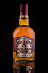 CHATHAM, NJ, UNITED STATES - MAY 4, 2014: Chivas Regal whisky bottle. Chivas Regal is the market-leading scotch whisky 12 years and above in Europe and Asia Pacific.