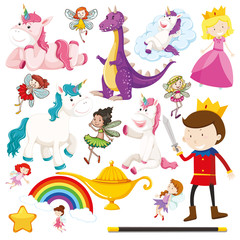 Set of fairytale characters on white background