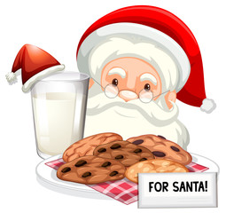 Chocolatechip cookies and milk for Santa