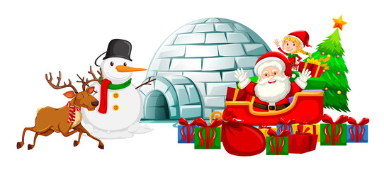 Santa on sleigh and snowman by igloo