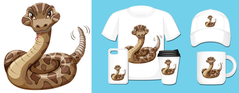 Wild snake on different product designs