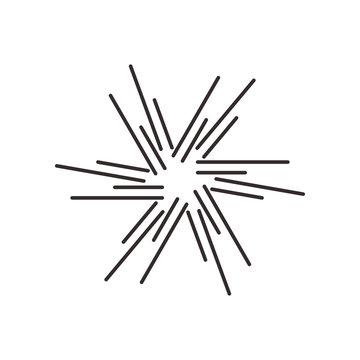 Sunbrust explotion effect icon abstract symbol vector illustration isolated on white background. Glare sunlight design.