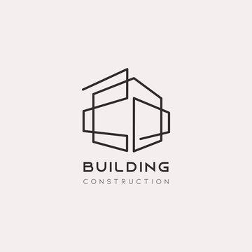 Building minimalist Concept Logo Design Template vector illustration. Minimalistic minimalism style line art creative.