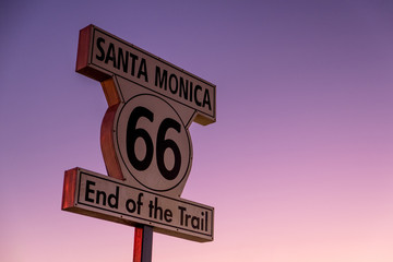 Historic Route 66 sign at the Santa Monica Pier, California.