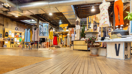 WASHINGTON DC - MAY 6, 2018: Indoor view of an Urban Outfitters shop. Urban Outfitters is an American multinational lifestyle retail corporation headquartered in Philadelphia, Pennsylvania