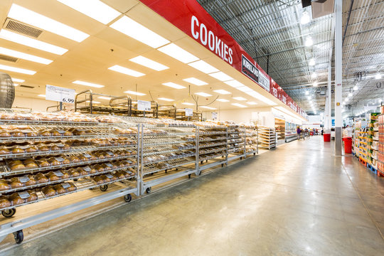 EAST HANOVER, NJ, USA - SEPTEMBER 27, 2104: Bakery aisle in a Costco store. Costco Wholesale Corporation, a membership only warehouse club, is the second largest retailer in USA.
