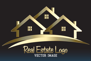 Real estate golden houses company card logo icon vector image