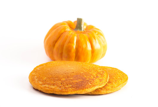 Pumpkin Spice Flavored Pancakes Isolated on a White Background