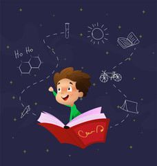 Cute cartoon boy fly through night sky riding on book