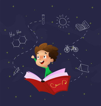 Cute cartoon boy fly through night sky riding on book