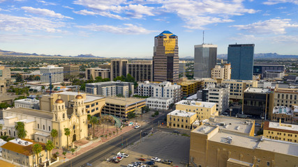 Foto op Canvas Arizona Blue Skies Aerial Perspective Downtown City Skyline Tucson Arizona