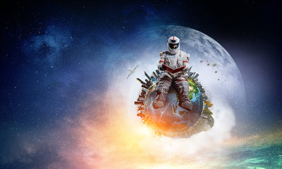 Wall Mural - Spaceman and the planet Earth abstract theme