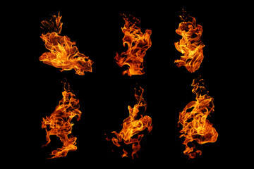 Printed roller blinds Fire / Flame Fire flames collection isolated on black background, movement of fire flames