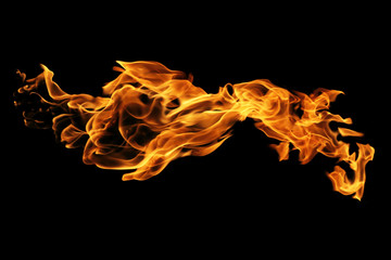 Foto op Canvas Vuur Fire flames isolated on black background, movement of fire flames