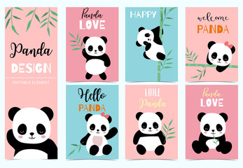 Collection of birthday background set with panda,bamboo.Editable vector illustration for birthday invitation,postcard and sticker.Wording include hello