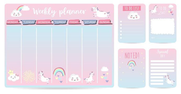 cute weekly planner background for kid with unicorn,rainbow,cloud