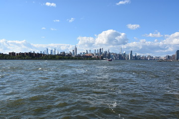View of Manhattan, New York, from Domino Park in Brooklyn