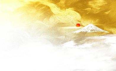 富士山と日の出(金色の和風背景)