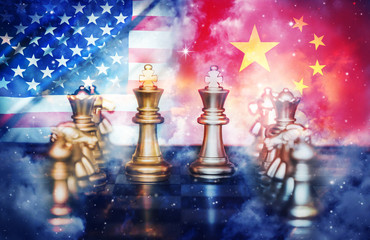 US America and China flags on chess pawns soldiers on a chessboard,