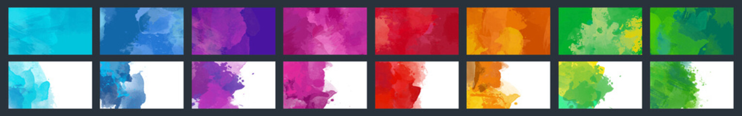 Big set of beauty vector colorful watercolor background for poster, brochure or flyer