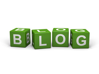The word BLOG out of green letter dices