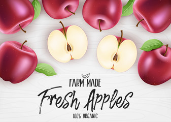 Fresh Red Apples Organic Farm Made. 3D Realistic Whole and Sliced Apples Banner with Leaves on White Wood Background. Vector Mesh Illustration
