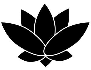 Black lotus. Budhhism symbol on a white background