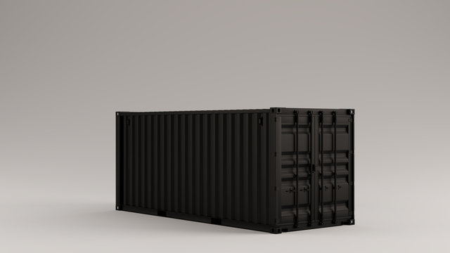 Black Intermodal Cargo Container 3 Quarter Right View 3d illustration 3d render