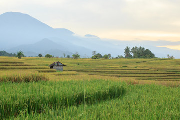 panoramic view of the mountain ranges in the sun when morning is a tourist destination in cool asia travel