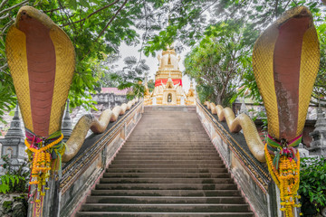 Stairs with snakes to Wat Sila Ngu temple, Jaidee (Chedi Sila Ngu) on Koh Samui, Surat Thani, Thailand.
