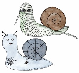 Cartoon snail mummy and snail with spider web and spider. Halloween illustration isolated. Watercolor hand drawn