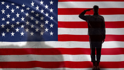 American soldier silhouette saluting against national flag, military forces Wall mural