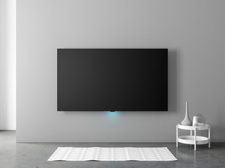 Smart Tv mockup hanging on the gray wall in living room with carpet