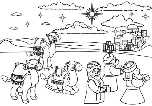 A Christmas nativity scene coloring cartoon, with with three wise men or magi and their camels arriving with their gifts. The City of Bethlehem and star above. Christian religious illustration.
