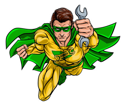 A super mechanic hero or plumber superhero holding a wrench or spanner