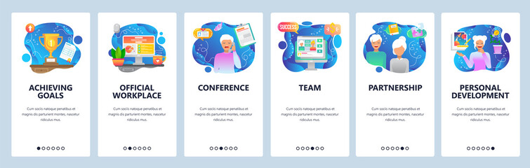 Wall Mural - Mobile app onboarding screens. Office workplace, team work, business call, winner cup. Menu vector banner template for website and mobile development. Web site design flat illustration