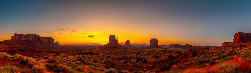 Panoramic at the beautiful sunrise in Monument National Park, Utah. United Stated
