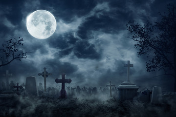 Zombie Rising Out Of A Graveyard cemetery In Spooky dark Night Wall mural