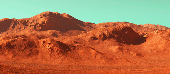 Papiers peints Brique Mars landscape, 3d render of imaginary mars planet terrain, science fiction illustration.