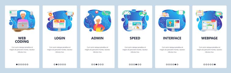 Mobile app onboarding screens. Software engineer coding, interface loading speed optimization. Menu vector banner template for website and mobile development. Web site design flat illustration