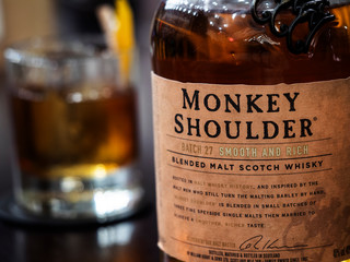 Kiev, Ukraine, January 28, 2018, illustrative editorial. Monkey Shoulder Scotch is a superb blended malt whisky from William Grant, made with single malts from three famous Speyside distilleries