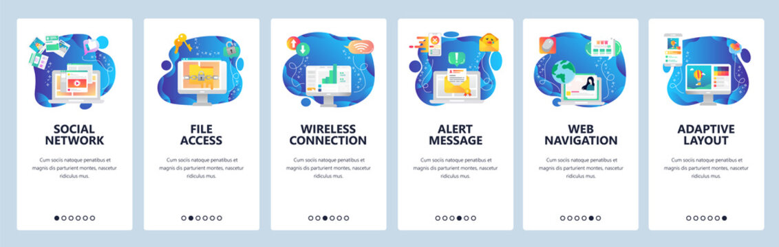 Mobile app onboarding screens. Adaptive layout, computer security access, alert notification, social media. Vector banner template for website and mobile development. Web site design flat illustration