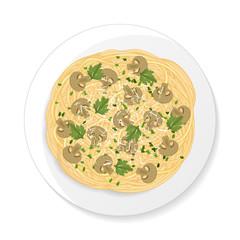 Spaghetti with mushrooms. Cartoon style. Vector illustration. Isolated on white.