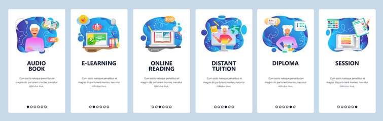 Mobile app onboarding screens. Online education, digital library, audio book, distant tutor, online reading. Vector banner template for website and mobile development. Web site design illustration Wall mural