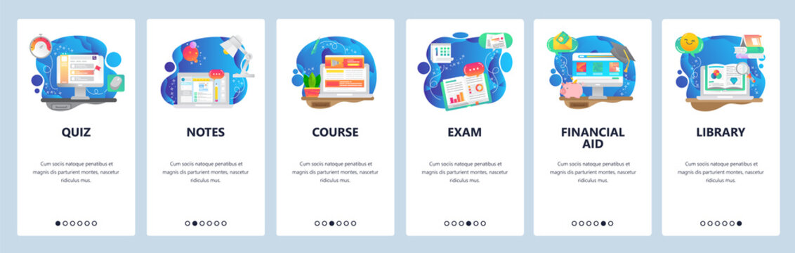 Mobile app onboarding screens. Education, library books, online course, take notes. Menu vector banner template for website and mobile development. Web site design flat illustration