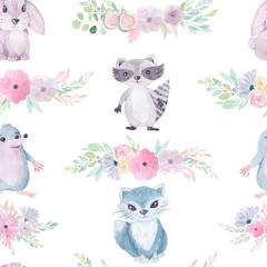 Seamless pattern with flowers and animals