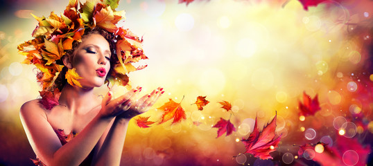 Photo sur Plexiglas Salon de coiffure Fall Incoming - Model Woman Blowing Red Magic Leaves - Make a Wish