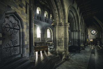 ST. DAVIDS, WALES - AUGUST 19: St. David's Cathedral, one of the oldest and most significant Christian sites in Wales on August 19, 2019 in St. Davids.